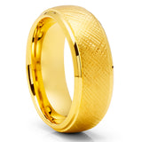 Yellow Gold Tungsten Wedding Ring - 8mm Tungsten Ring - Yellow Gold Ring - Men's