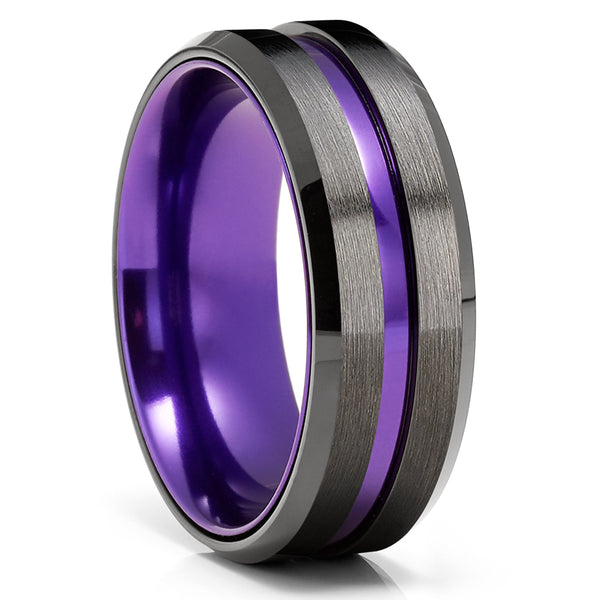 Purple Tungsten Wedding Ring - Gunmetal Tungsten Ring - Anniversary Ring - Unique Tungsten Ring - Black Wedding Band - Tungsten Carbide