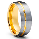 Gray Tungsten Wedding Ring - Yellow Gold Tungsten Ring - 8mm Wedding Band - Tungsten Carbide