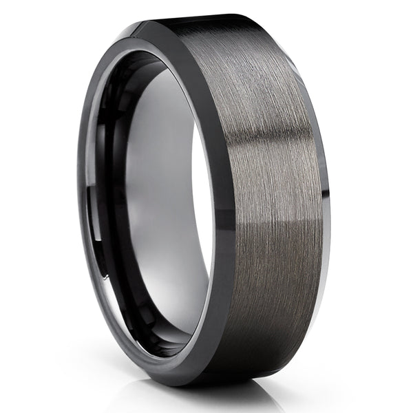Men's Black Wedding Ring - Gunmetal Tungsten Wedding Band - Black Tungsten Ring - Anniversary Ring - Engagement Ring