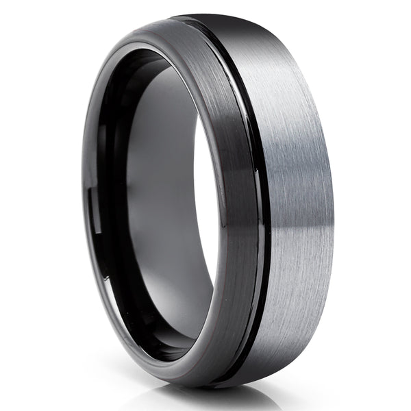 Black Tungsten Wedding Ring - Gray Tungsten Wedding Ring - Anniversary Ring - Engagement Ring - Dome Wedding Ring
