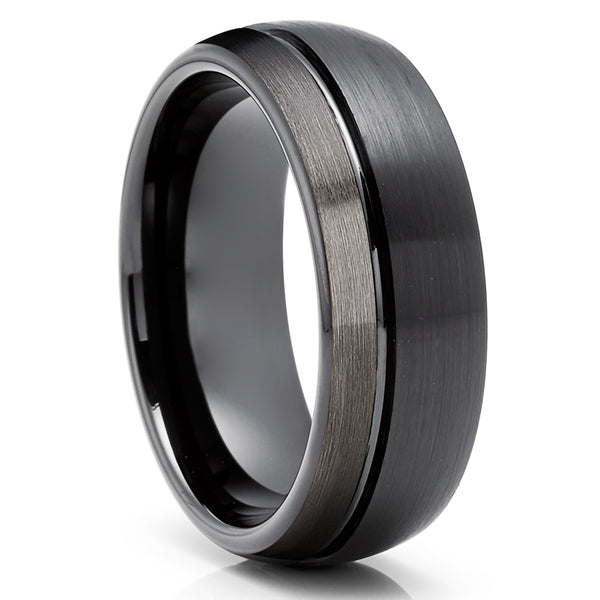 Black Tungsten Wedding Ring - Gunmetal Tungsten Ring - Tungsten Carbide Ring - Anniversary Ring - Engagement Ring