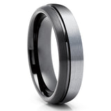 Gunmetal Tungsten Wedding Ring - Black Tungsten Ring - Anniversary Ring - Gray Tungsten Ring - Men & Women - Offset Groove