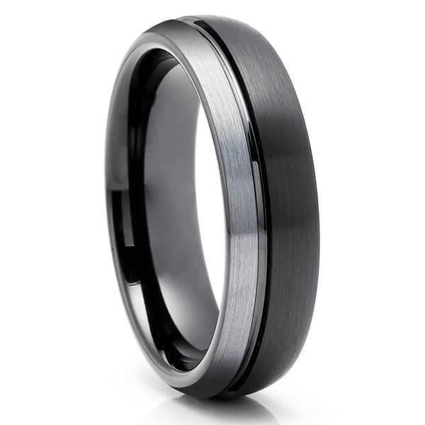 Black Tungsten Wedding Ring - Gray Tungsten Ring - Tungsten Carbide Ring - Anniversary Ring - Engagement Ring