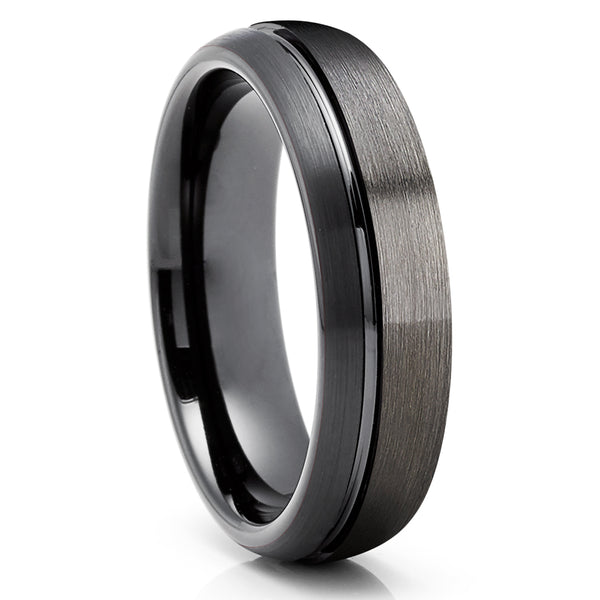 Black Wedding Ring - Gunmetal Wedding Band - Tungsten Carbide Ring - Anniversary Ring - Men & Women - Unique Band