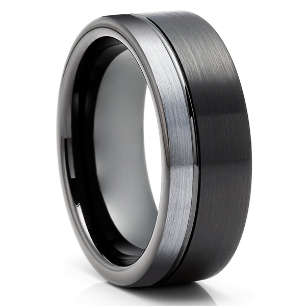 His & Hers Black Tungsten Wedding Ring - Black Tungsten Ring - Anniversary Ring - Engagement Ring - Unique Wedding Ring