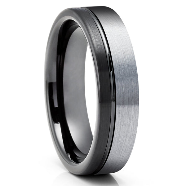 Black Tungsten Wedding Ring - Anniversary Ring - Gray Tungsten Ring - Men & Women - Engagement Ring - Black Wedding Ring