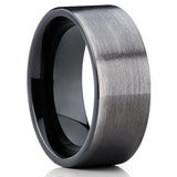 8mm,Gunmetal Tungsten Ring,Gunmetal Tungsten,Wedding Band,Brushed Finish