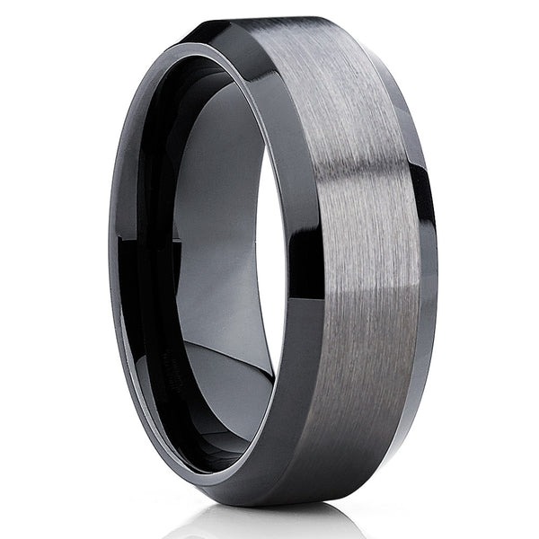 10mm - Black Tungsten Wedding Band - Gray Wedding Band - Gun Metal Ring - Clean Casting Jewelry
