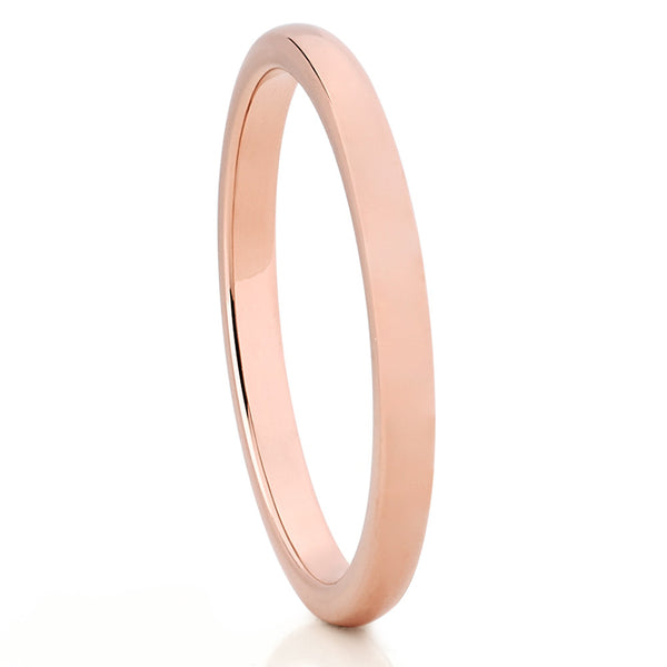 7.5 Size Tungsten Carbide High Polish Rose Gold Plated Thin Band 2mm Wedding Band Ring