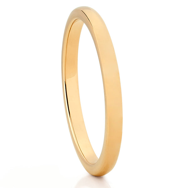 2mm - Yellow Gold Tungsten Wedding Ring - Shiny Polish - Tungsten Carbide - Clean Casting Jewelry