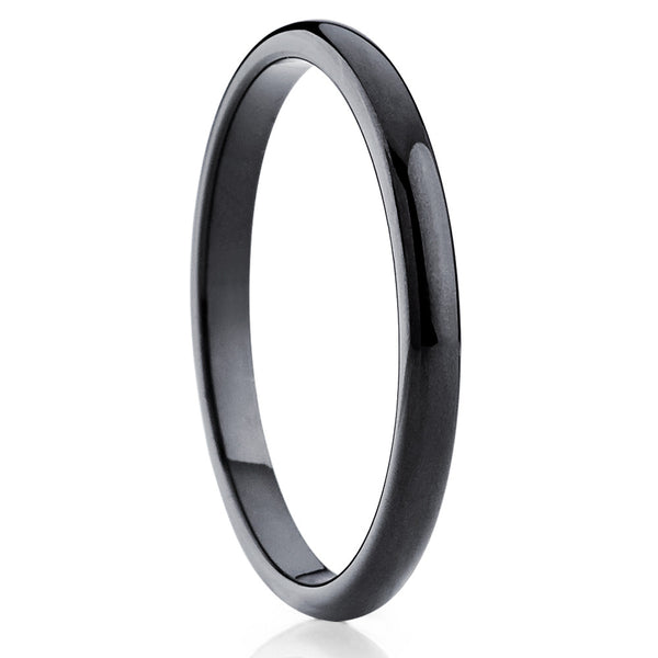 Black Tungsten Wedding Band - 2mm Tungsten Ring - Dome Ring Handmade - Clean Casting Jewelry