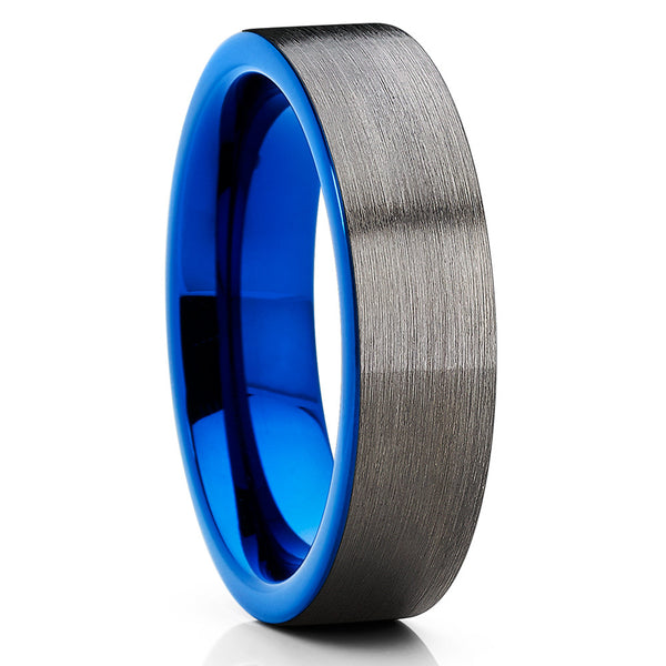 6mm - Blue Tungsten Wedding Band - Gray Tungsten Ring - Gunmetal - Brush - Clean Casting Jewelry