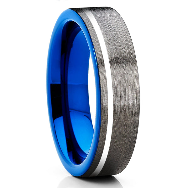6mm,Gray Brushed,Blue Tungsten,Comfort Fit Ring,Anniversary Ring,Wedding Band