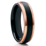 6mm,Rose Gold Tungsten,Black Tungsten Ring,Brushed Finish,Dome Ring,Comfort Fit