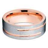 Rose Gold Tungsten Wedding Band - 8mm - Rose Gold Tungsten Ring - Brush - Clean Casting Jewelry