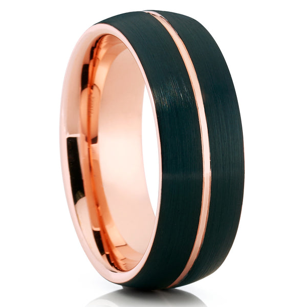 Rose Gold Tungsten - Black Tungsten Ring - Men's Wedding Band - 8mm - Clean Casting Jewelry