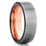 Black Tungsten Ring - Rose Gold Tungsten Band - Gunmetal Tungsten Ring - Clean Casting Jewelry