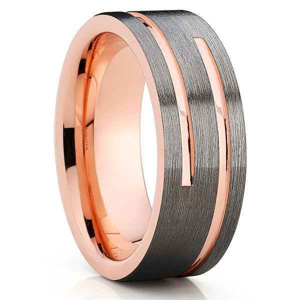 Rose Gold Tungsten Wedding Band - Gunmetal Ring - Gray Tungsten Ring - Clean Casting Jewelry