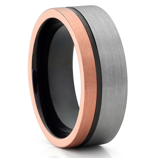 Black Tungsten Wedding Band - Rose Gold - Tri Tone Ring - Rose Gold Band