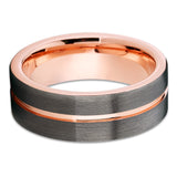 Rose Gold Tungsten Ring - Gray Tungsten Ring - Rose Gold Tungsten Band - Clean Casting Jewelry
