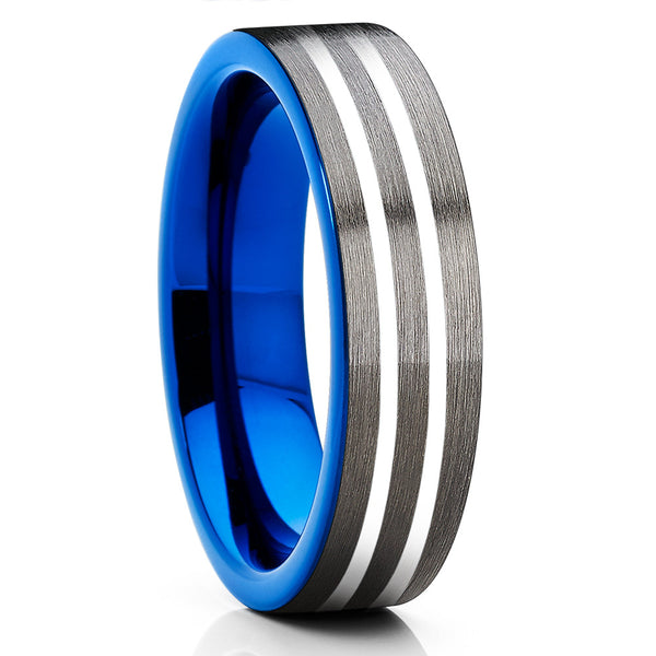 6mm - Gray Tungsten Ring - Blue Tungsten - Black Ring - Gunmetal - Clean Casting Jewelry