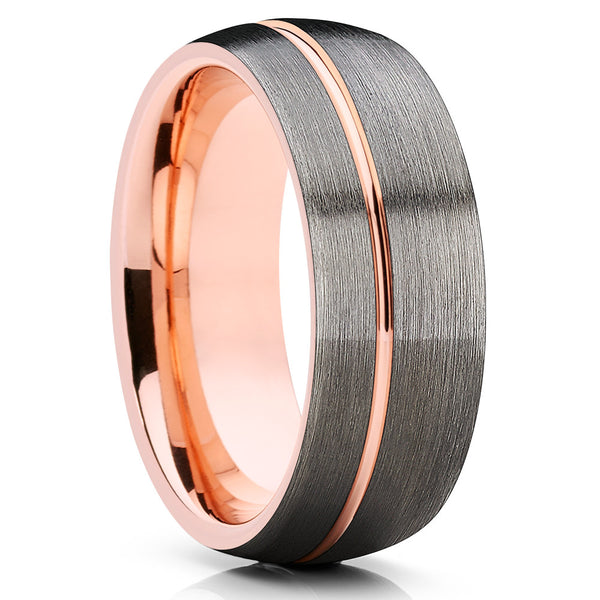 8mm,Rose Gold Tungsten,Mens Tungsten Ring,Gunmetal,Brushed,Offset Groove