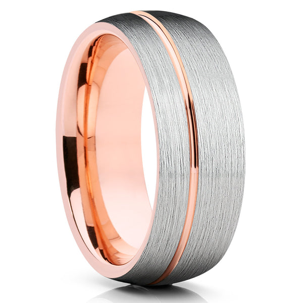 Rose Gold Tungsten Wedding Band - Brush - Silver Tungsten Ring - Dome Ring - Clean Casting Jewelry