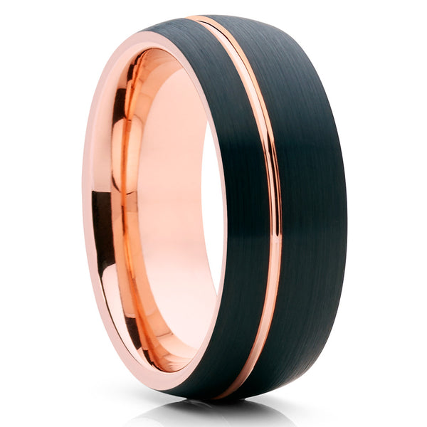 Rose Gold Tungsten - Black - Rose Gold Tungsten Ring - 8mm - Men's - Clean Casting Jewelry