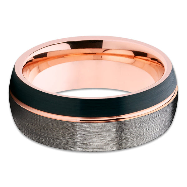 Rose Gold Tungsten Black Tungsten Ring Rose Gold