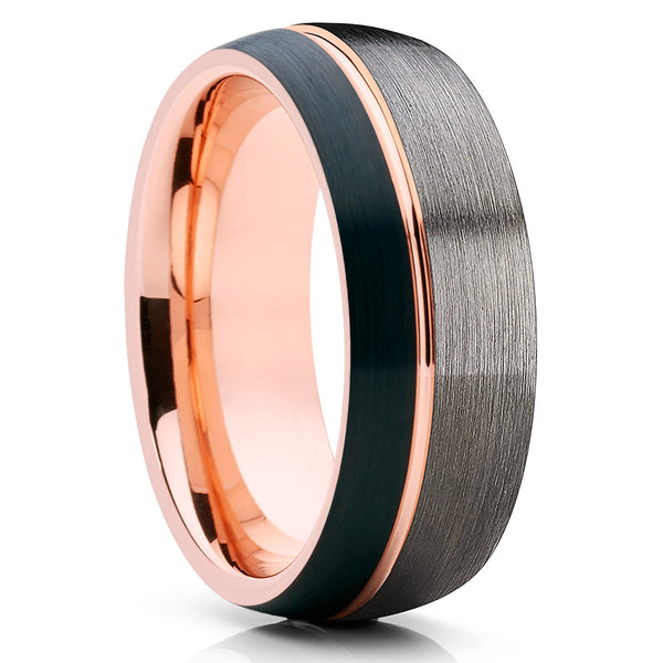 Tungsten Wedding Band Rose Gold Ring Blue Ring Gray