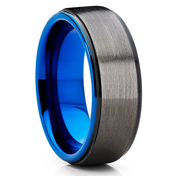 Blue Tungsten Wedding Band - Gunmetal Ring - Gray Tungsten - Blue Ring - Clean Casting Jewelry
