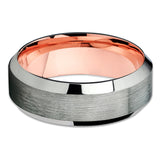 Gunmetal Wedding Band - Rose Gold Tungsten - Tungsten Wedding Ring