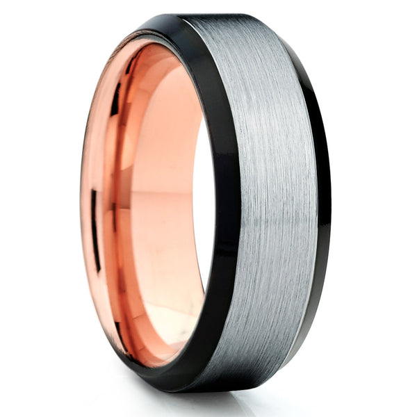 Rose Gold Tungsten Ring - Black - Rose Gold Tungsten Wedding Band - Brush - Clean Casting Jewelry