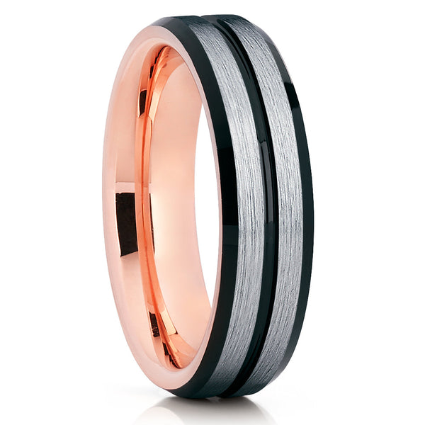 Rose Gold Tungsten Wedding Band - Brushed Ring - Tungsten Carbide - Unique