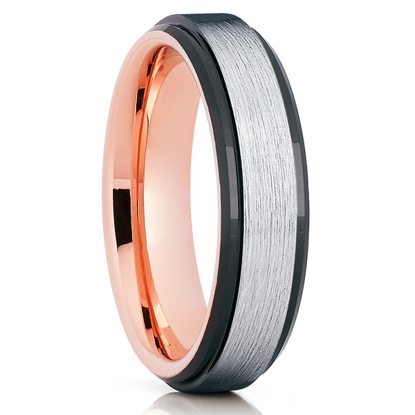 Rose Gold Tungsten Wedding Band - Black Edges - Rose Gold Ring - Brush - Clean Casting Jewelry