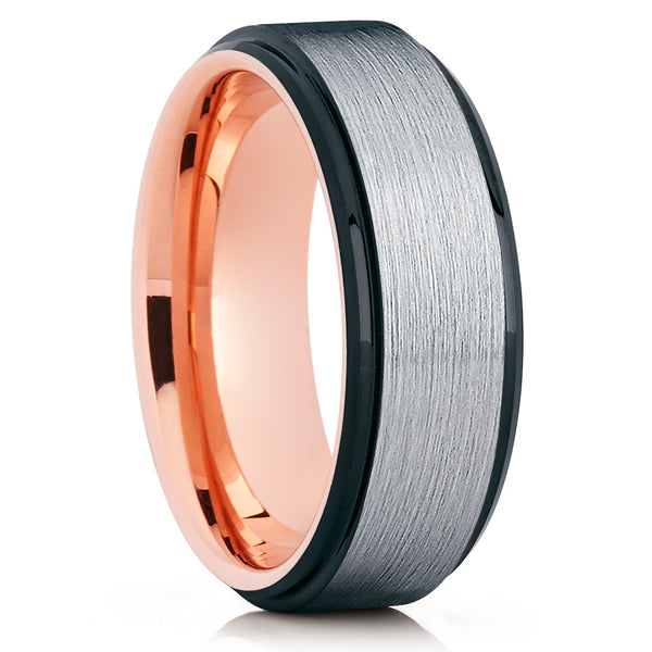 Rose Gold Tungsten - Tungsten Wedding Band - Black Ring - Men's Band - Clean Casting Jewelry