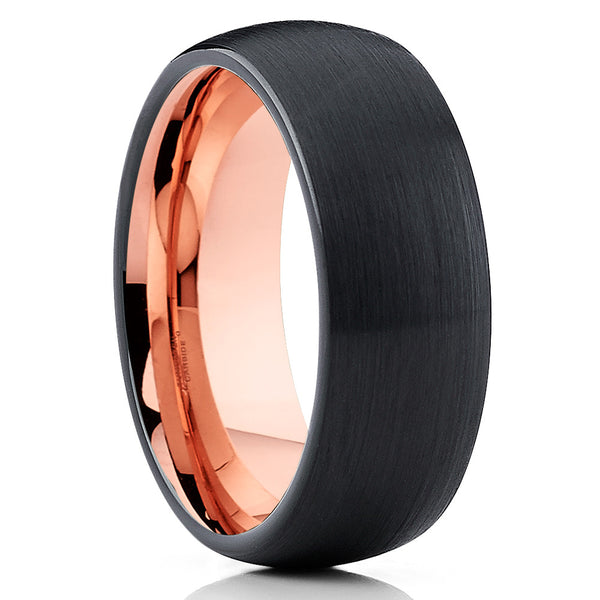 Black Rose Gold Tungsten Ring,Tungsten Ring,Dome Shape,Comfort Fit