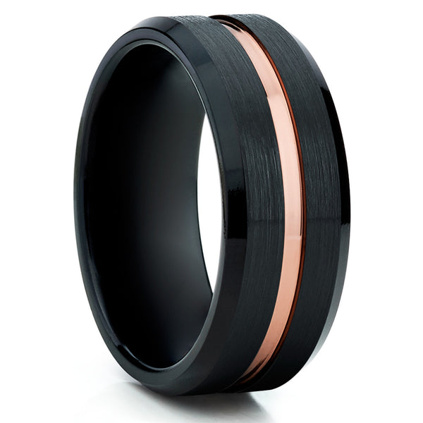 Black Rose Gold,Brushed Tungsten,Comfort Fit Ring
