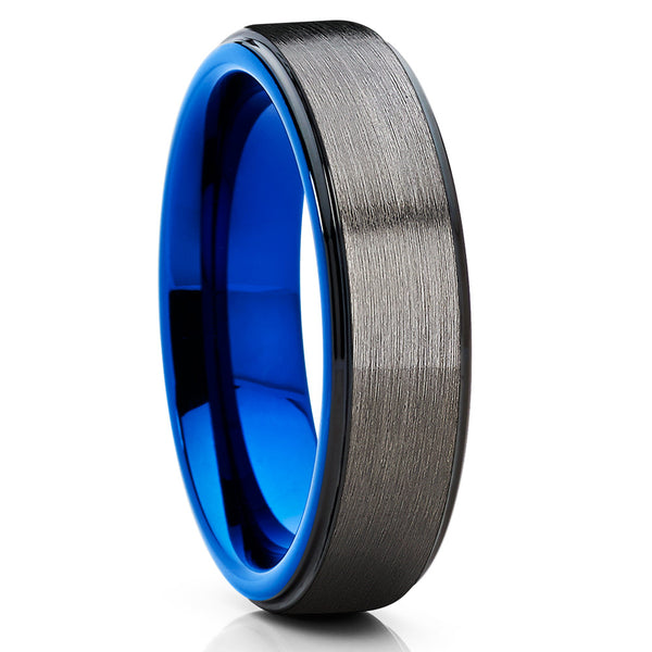 Blue Tungsten Wedding Band - Gray Tungsten Ring - Black Tungsten
