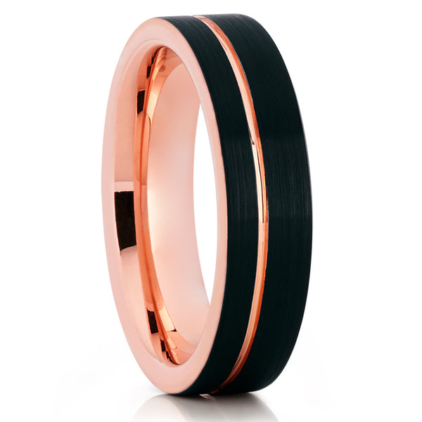 6mm - Rose Gold Tungsten Wedding Band - Offset Groove - Black Ring - Clean Casting Jewelry