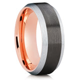 Rose Gold Tungsten Wedding Band - Black Ring - Gunmetal Ring - Unique - Clean Casting Jewelry