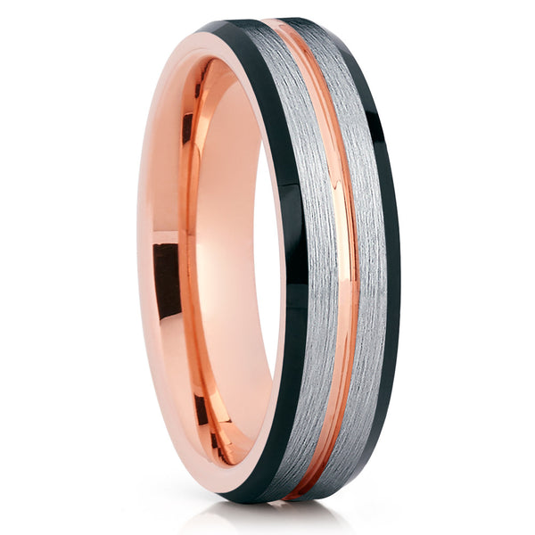 Rose Gold Tungsten Wedding Band - Black - Rose Gold Tungsten Ring - Brush - Clean Casting Jewelry