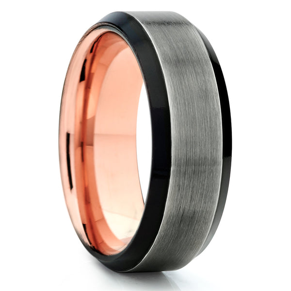 Rose Gold Tungsten Ring - Black Tungsten Wedding Band - Men's Ring - Unique