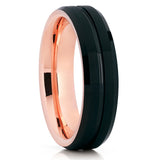 Black Tungsten Wedding Band - Rose Gold Tungsten Ring - Grooved Ring
