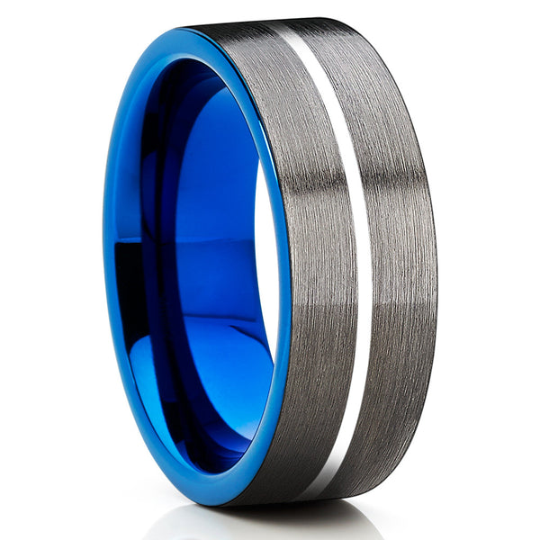 Blue Tungsten Wedding Band - Men's Tungsten Ring - Gunmetal Wedding Ring - Clean Casting Jewelry