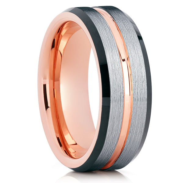 Center Grooved,Rose Gold Tungsten Ring,Tungsten Wedding Band,Brushed Tungsten