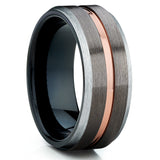 Black Tungsten Wedding Band - Rose Gold Tungsten - Gunmetal Ring - Brush - Clean Casting Jewelry