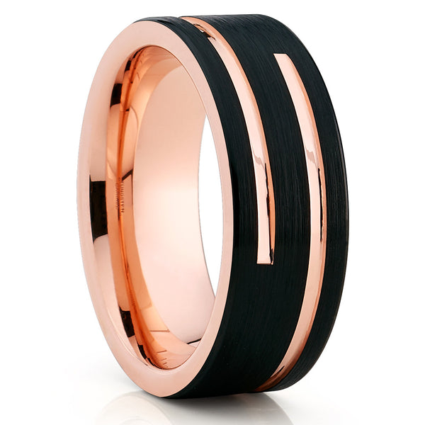 8mm Rose Gold Tungsten Wedding Band - Black Tungsten - Men's Ring - Clean Casting Jewelry