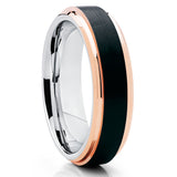 6mm - Black Tungsten Wedding Band - Rose Gold Tungsten - Beveled Edges - Clean Casting Jewelry